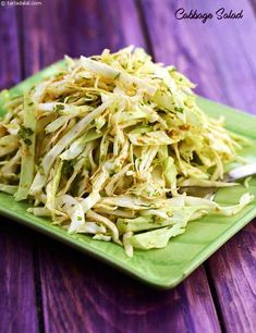 Cabbage Salad, a tangy dressing with black salt, lemon juice and coriander powder, is the magic spell that transforms simple cabbage into such a singularly wonderful salad! Salad Recipes By Tarla Dalal, Veg Salad Recipes, Cabbage Salad Recipes, Salad Recipes For Dinner, Dinner Recipes For Kids, Sandwich Recipes, Vegetable Recipes, Healthy Salads, Healthy Eating