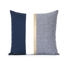 Navy Chambray Pillow with Metallic Gold Stripe by JILLIAN RENE DECOR. A metallic gold stripe and yarn dyed chambray gives layers of texture to this chic navy and cream pillow cover. Handmade in the USA.