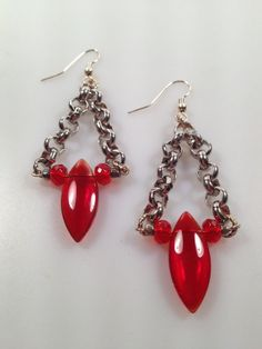 IBA  Chain and Czech glass Dangle Earrings by InspiredByAmber, $22.00