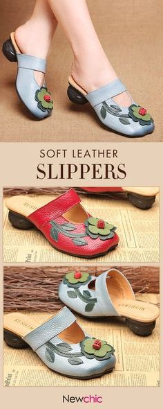 Women Soft Leather Flowers Square Closed Toe Slippers.