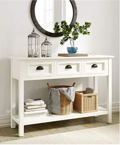 Finch Lockwood Modern Farmhouse Wood Console, Long Sofa Table with Storage Shelf and 3 Drawers, Entryway, white White Sofa Table, Sofa Table With Storage, Sofa Table With Drawers, Long Sofa Table, Storage Shelves, Condo Living, Living Room, House Tweaking, Console Table