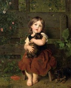 """""""Little Girl With Dachshund Puppy"""" -- Ludwig Knaus (1829 – 1910, German)"""