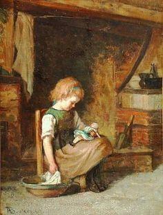 Adolf von Becker (1831 – 1909, Finnish) - Girl With Doll