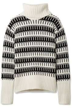 Ivory and black wool and cashmere-blend Slips on 90% wool, 10% cashmere Dry clean Imported