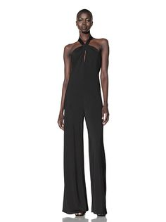 l.a.m.b. clothing ~ jersey halter jumpsuit (front view)