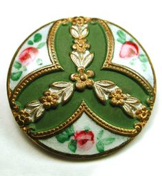 Antique French Enamel Button with Hand Painted Floral Border. - Collector Note: Enamel on metal, but matte color center is painted, which being in pristine condition is quite special. Typically the paint is chipped and worn. Avoid water, tumbling, or polishing. It's pristine As Is. A lovely example, enjoy!