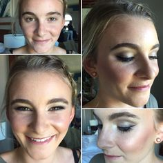 Before and after makeup of maid of honor from July 23, 2016, Libby. Neutral and violet eye shadows, winged gel liner, individual lash clusters and neutral pink lips and cheeks.