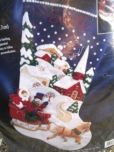 "Christmas Holiday BUCILLA STOCKING FELT Applique Craft KIT,WINTER TWILIGHT,18"" #Bucilla"