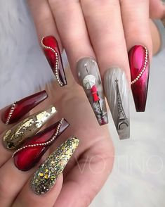80 Best Winter Nails Red Colors For Long Nails Art Designs Fancy Nails, Bling Nails, Stiletto Nails, Red Nails, Cute Nails, Pretty Nails, Hair And Nails, Red Chrome Nails, Coffin Nails