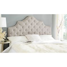Safavieh Arebelle Taupe Linen Upholstered Tufted Headboard - Silver Nailhead (Full) | Overstock.com Shopping - The Best Deals on Headboards