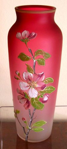 Antique Hand Painted Enamel Floral Vase ~ Cranberry Rubina Satin Glass