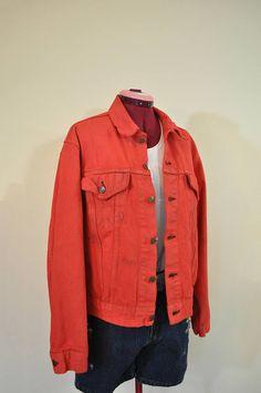 Red Mens Large Denim Jean JACKET  Scarlet Red Dyed Upcycled