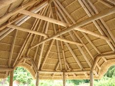 The Lapa Company designs and installs unique thatched gazebo's on behalf of our public and commercial customers. Read about Lapa Construction here. Bamboo House Design, Cedar Shingles, Wooden Buildings, Vernacular Architecture, Thatched Roof, Outdoor Learning, Beautiful Buildings, Building Plans, Hardwood