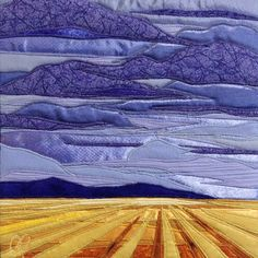Harvest Sky, fiber and textiles with overstitching, created by twin artists, Lisa and Lori Lubbesmeyer. Fiber art, textile art, fiber landscape.