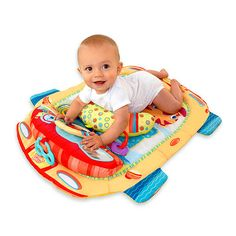 The American Academy of Pediatrics recommends supervised tummy time daily from birth. The car themed tummy mat provides an engaging play area designed to encourage healthy tummy time and keep baby entertained. This mat is designed to offer two ways of play: tummy or sitting.