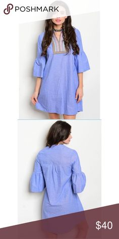 """Chambray Boho Bell Sleeve Embroidered Dress Chambray Boho Bell Sleeve Embroidered Dress Fabric 100% Cotton Size Small Measures L: 36"""" B: 36"""" W: 40"""" Made in the USA. No Trades. Price is Firm Unless Bundled. GlamVault Dresses"""