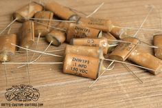 Vintage Repro Phonebook Capacitor mfd uf 100 nF for Fender Telecaster Stratocaster and other electric Guitar, simply the best Capacitors for restauration and upgrade your Guitar Sound Fender Telecaster, Guitar Fender, Les Paul Jr, Cigar Box Guitar, Custom Guitars, Vintage Guitars, Bass, Guitar, Flat