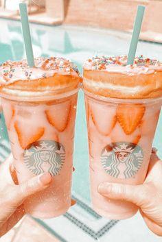 Starbucks Art, Starbucks Recipes, Starbucks Drinks, Peach Aesthetic, Aesthetic Coffee, Aesthetic Food, Cute Food, Yummy Food, Kreative Desserts