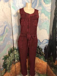 Indigo Thread L New Red Washed Out Drawstring Rayon Pockets Sleeveless Jumpsuit  #INDIGOTHREADCO #JUMPSUIT