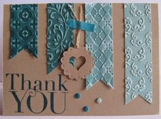 Stampin' Up! ... handmade thank you card ... kraft and dusty teal ... fishtail banners of Coordinations paper embossed with different embossing folder textures and then sanded ... luv how the designs show up with a slightly weathered look ...