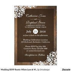 Wedding RSVP Rustic White Lace & Wood Invitation
