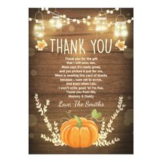 Pumpkin thank you card Rustic Fall Baby shower - baby birthday sweet gift idea special customize personalize