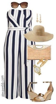 Plus Size Striped Jumpsuit - Plus Size Summer Outfit Idea - Plus Size Fashion for Women - alexawebb.com #alexawebb #PlusSize#outfits