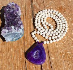 Purple Quartz Agate Druzy Necklace white by JivalaJewelry on Etsy