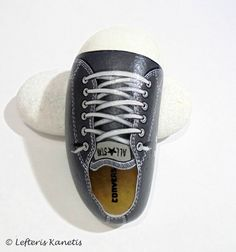 Grey All Star Painted Stone shoe !  Is Painted with high quality Acrylic paints and finished with Glossy varnish protection.