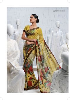 Amalgamation of polka dots with floral prints provides a stupendous view on the light yellow georgette saree.