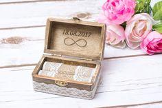 Rustic Wedding Ring Box Bearer Infinity by HappyWeddingArt on Etsy