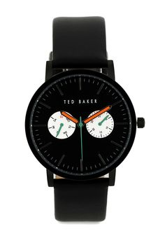Simplicity never failed Men's TE1096 Smart Casual Round Watch by Ted Baker. Watch with chrono detail and asolid black color make this watch timeless. Black watch with round stainless steel case, leather strap, water resistant 50 m.    http://www.zocko.com/z/JGrQJ
