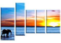 Tablou Elefant 4734 Dimensiuni: 2x 20x50 - 1x 20x70 - 1x 30x50 - 1x 30x70 Total: 120x80 cm Wind Turbine, Canvas, Modern, Line Art, Canvases, Toile, Burlap