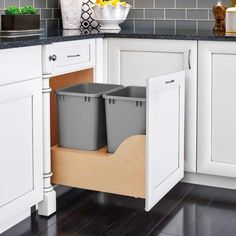 Rev-A-Shelf 4WCSC-2150DM-2 4WCSC 21 Inch Bottom Mount Double Bin Trash Can with Wood Trash Cans 2 Bin Pull Out