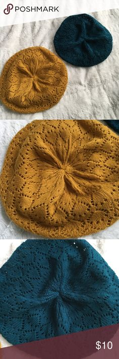 Bundle of Two Slouchy Knit Berets Super cute jewel toned knitted slouchy berets.   One mustard yellow (small thread pull inside) One teal blue.  EUC. Accessories Hats