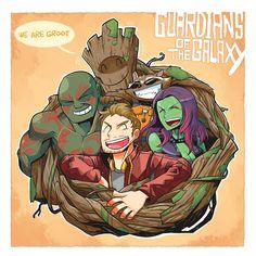 Peter - Groot -Drax - Gamora - Rocket