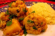 """Aloo Gobi Recipe - delicious Indian recipe! :) """"Coriander"""" is what British people call cilantro. I like to add chickpeas instead of potatoes to add protein and cut carbs."""