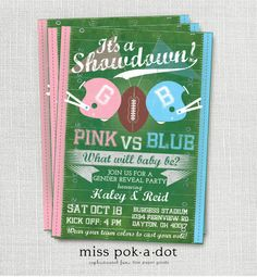 Football gender reveal party invitation  pink vs by misspokadot, $15.00