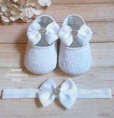 Christening Shoes, White Eyelet Lace Shoes, Baby Girl Christening Shoes, Baptism Shoes, Baptism Shoes Girl, Christening Shoes and Headband