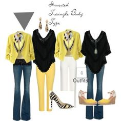 Four Outfits for The Inverted Triangle Body Type!