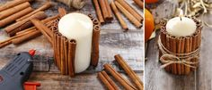 DIY cinnamon candle Don't use glue gun, just melt the outside of the candle with a blowtorch or lighter