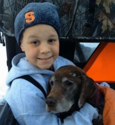 Eleven-year-old Austin Gibson was calling for a turkey, but instead found a lost 17-year-old dog named Maggie and reunited her with her family.    http://www.dogheirs.com/larne/posts/2558-boy-s-turkey-call-saves-lost-elderly-dog
