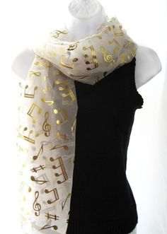 Ivory Gold Music Note Scarf Shawl Performance Choir Holiday Concert White