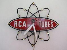 Promotional clock for RCA Vacuum tubes. Retro Advertising, Advertising Signs, Vintage Advertisements, Vintage Ads, Vintage Posters, Vintage Clocks, Mid Century Modern Decor, Mid Century Art, Mid Century Style