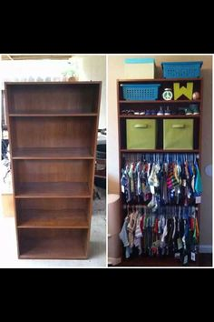 Bookshelf baby clothing organizer | Great idea - I can put it next to the dresser that will be a changing table, and on the other side of the dresser/changing table I can put a book case for books!