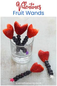 Quick and easy Valentines fruit wands with heart strawberries - fun healthy Valentines Day food for kids healthyholidayrecipes Food Art For Kids, Cooking With Kids, Healthy Meals For Kids, Kids Meals, Valentines Day Food, Dog Snacks, Vegan Snacks, Food Themes, Food Ideas