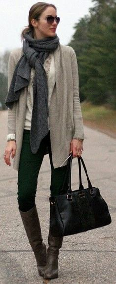 #Winter #Outfits / Gray Oversized Scarf - UTK Boots