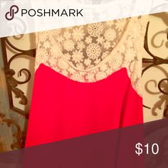 Cute top Really cute tank top with lace back! Monteau Tops Tank Tops