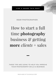 How to start a full time photography business & getting more clients + sales (Part 2)
