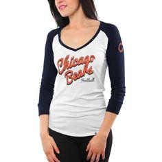 47 Brand Chicago Bears Women s Batter Up Raglan Long Sleeve T-Shirt - White edbd5a473c
